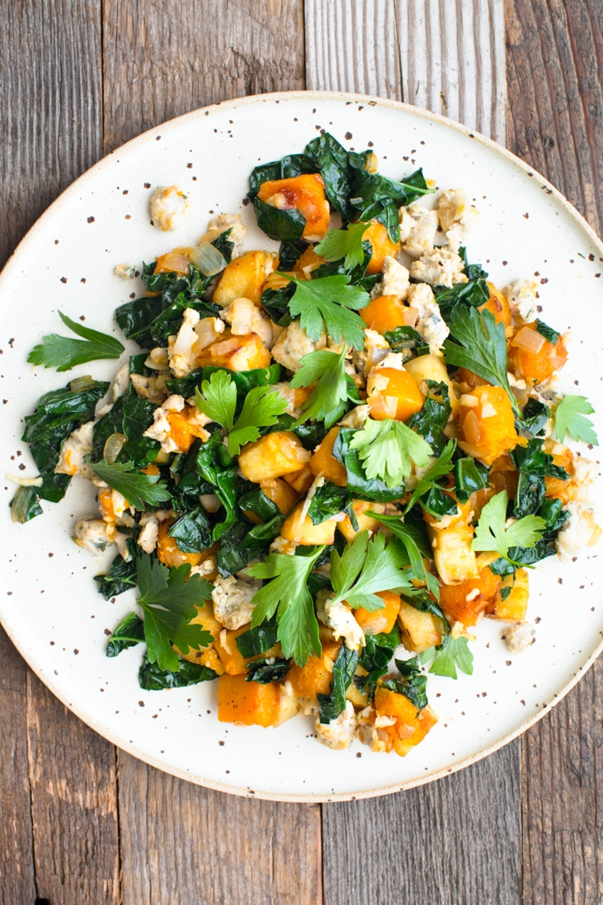 Butternut Squash, Sausage and Parsnip Hash