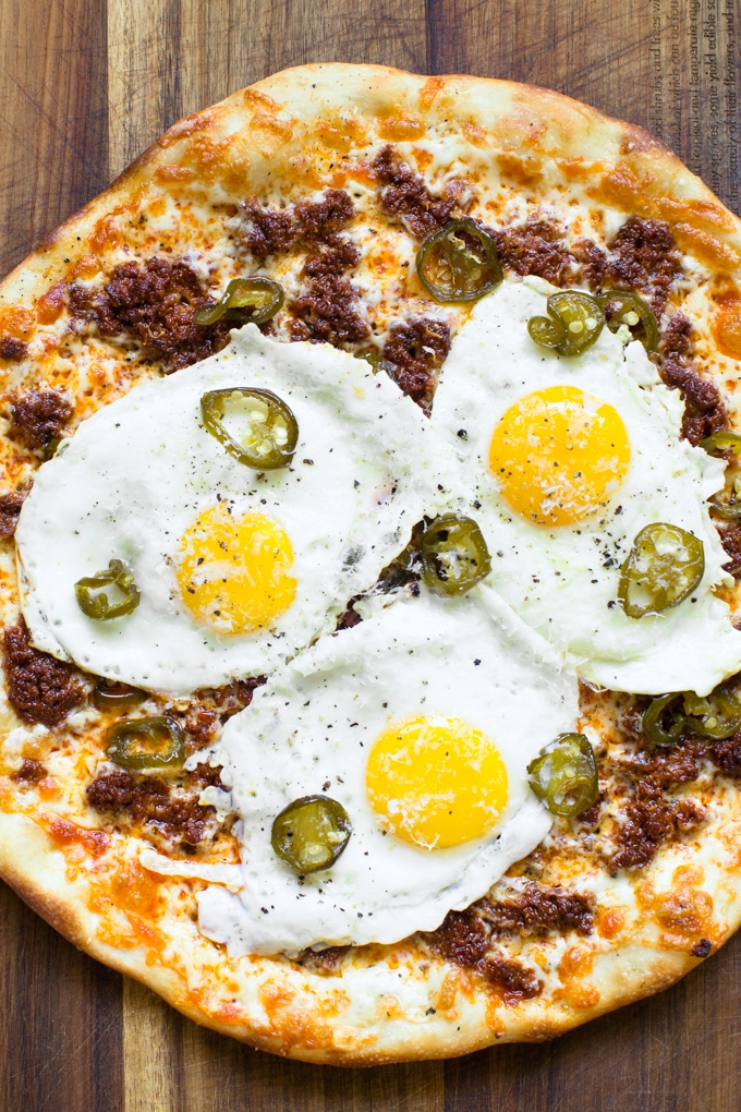 Breakfast Pizza with Chorizo and Candied Jalapeños