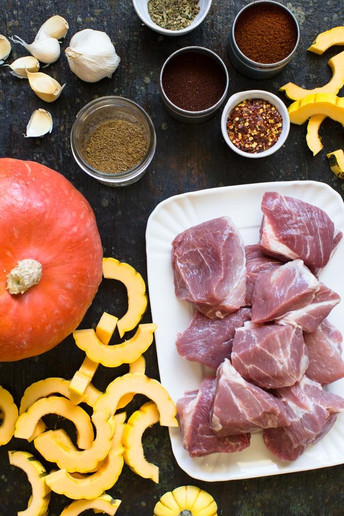 Pork and Squash Stew Ingredients