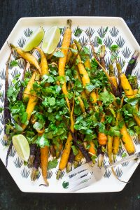 Roasted Carrots with Herbs, Chiles and Lime