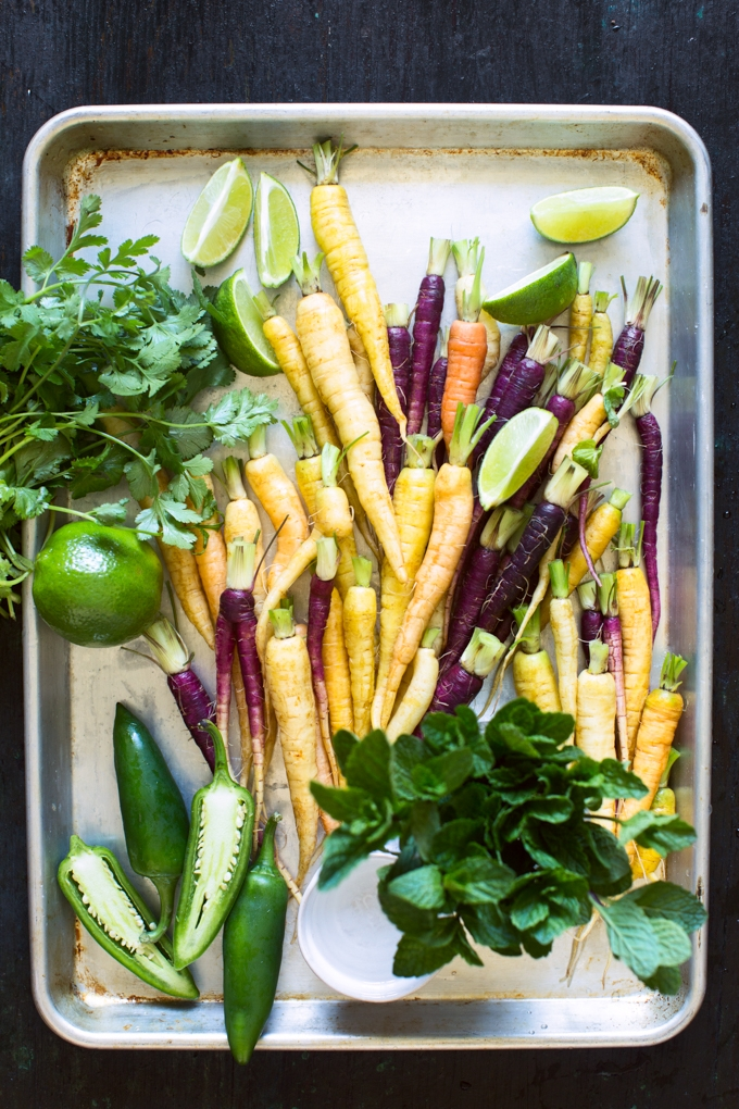 Rainbow Carrots with Herbs, Chiles and Lime
