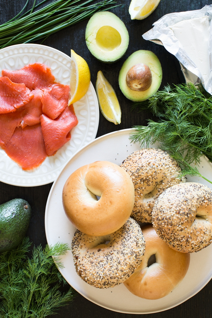 Bagels with Smoked Salmon and Herbed Avocado Spread Ingredients