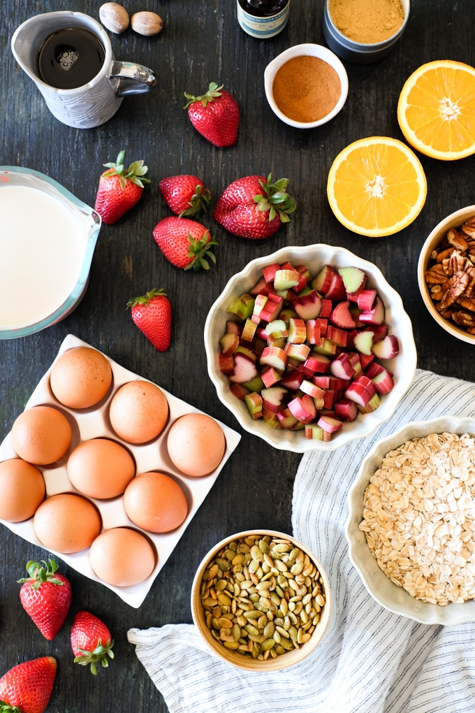 Strawberry Rhubarb Baked Oatmeal Ingredients