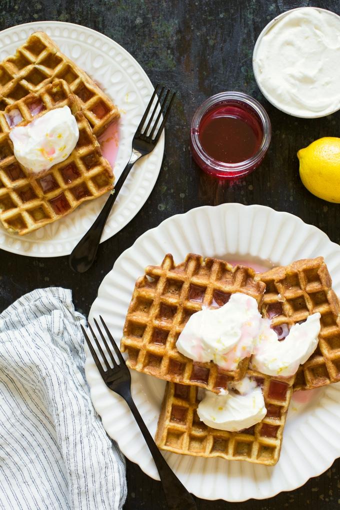 Rhubarb Waffles With Lemon Whipped Cream
