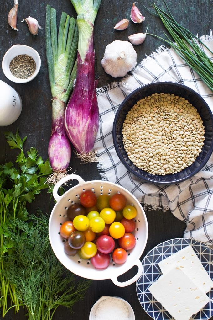 Tomato and Lentil Salad Ingredients