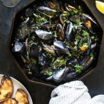 Grilled Mussels with White Wine, Fried Garlic and Herbs