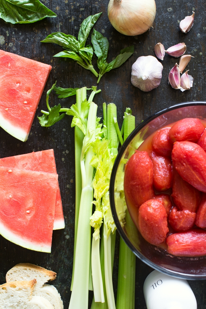 Tomato and Watermelon Gazpacho Ingredients