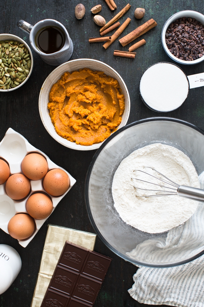 Pumpkin, Olive Oil and Dark Chocolate Cake Ingredients