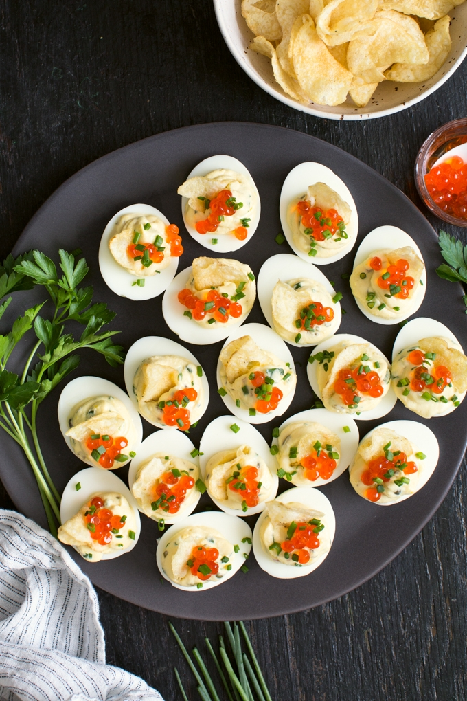 Deviled Eggs with Caviar and Potato Chips