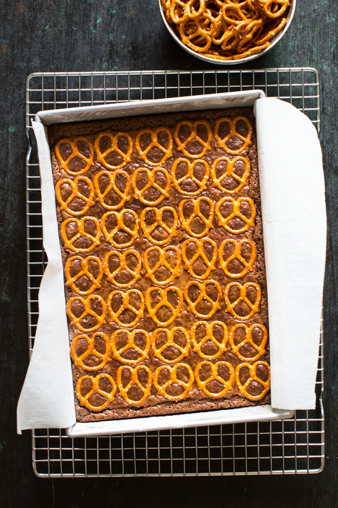Salted Pretzel and Stout Brownies