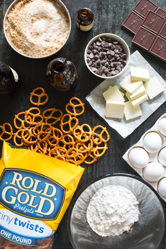 Salted Pretzel and Stout Brownies Ingredients