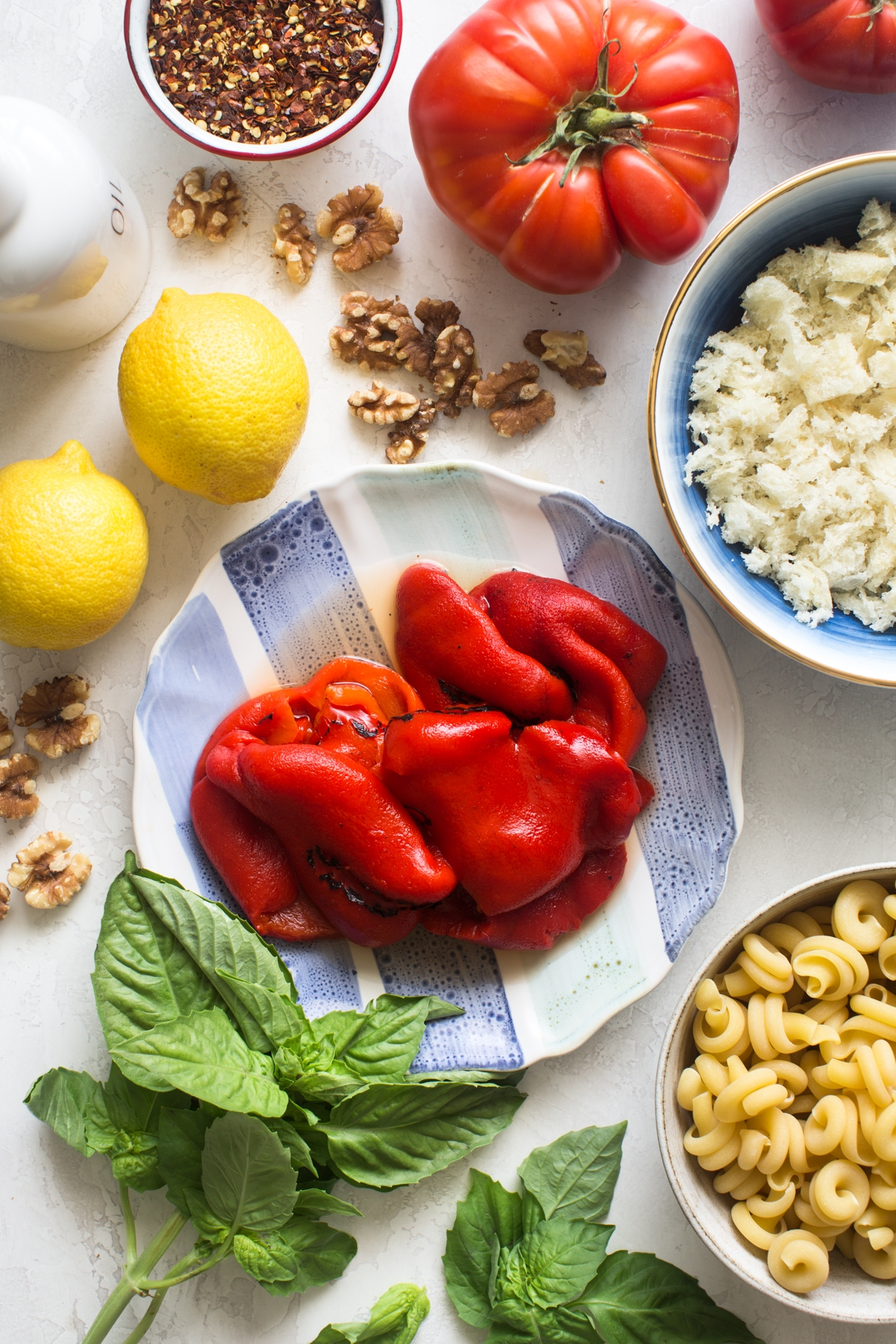 Roasted Red Pepper Pasta Salad Ingredients