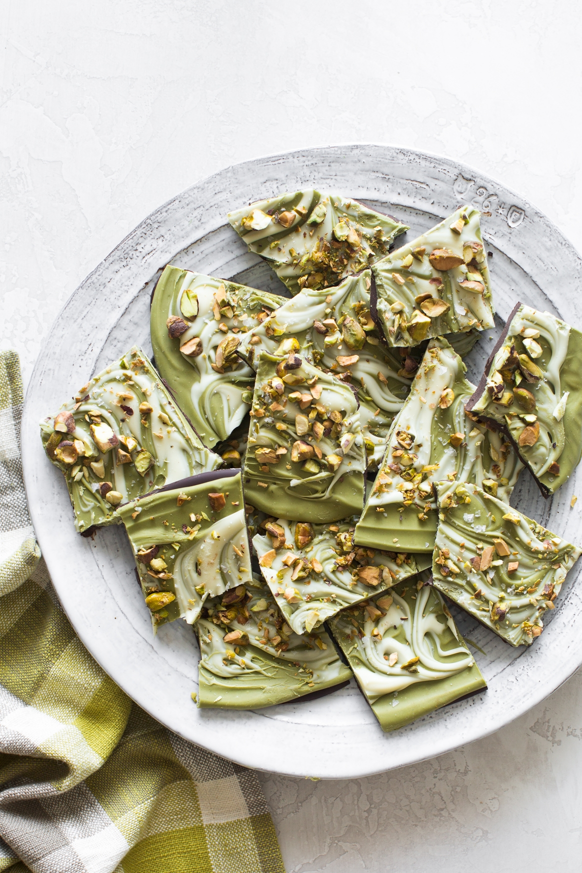 Double Chocolate Matcha Bark with Toasted Pistachios