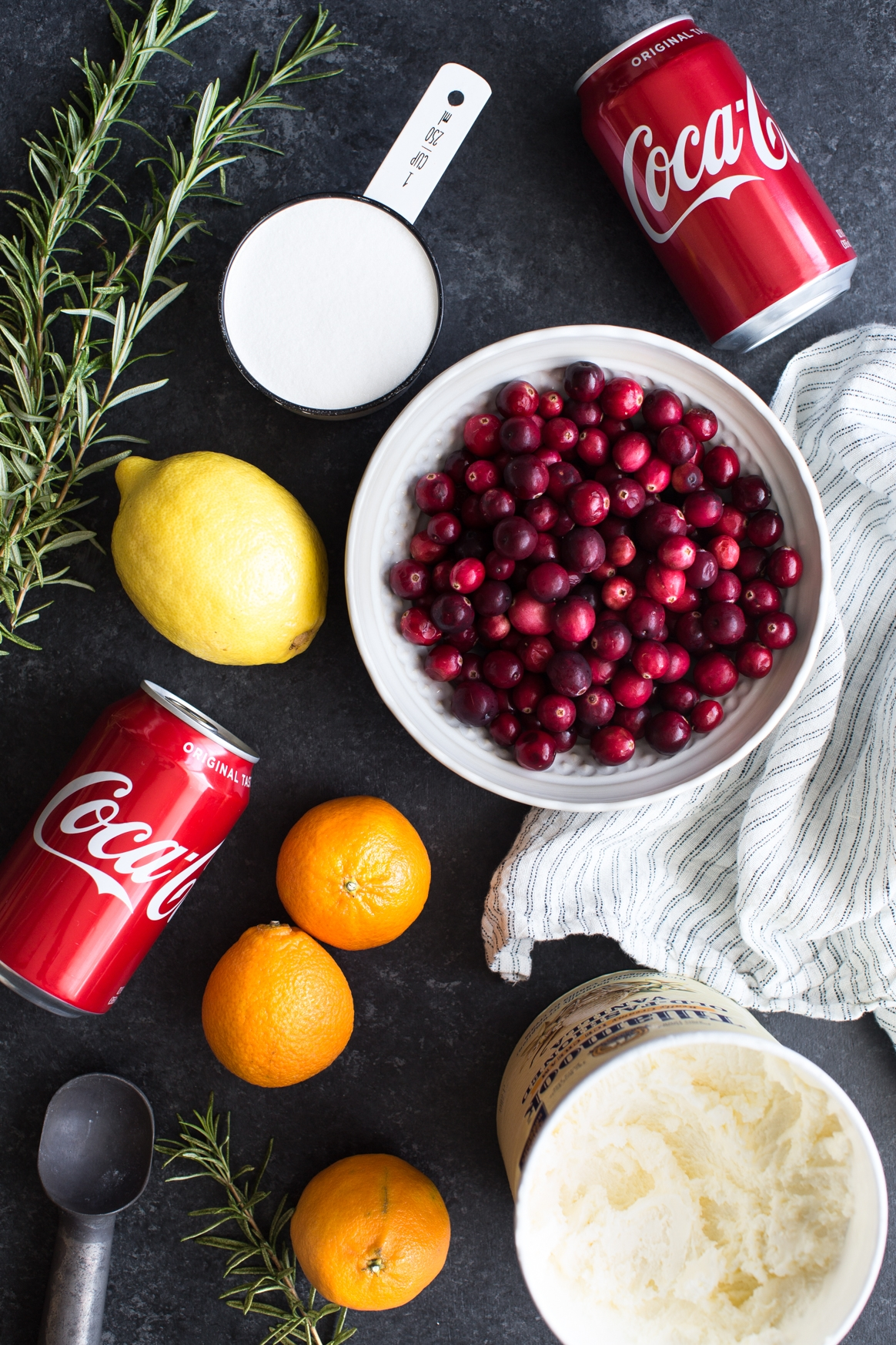 Sparkling Cranberry and Cola Ice Cream Float Ingredients