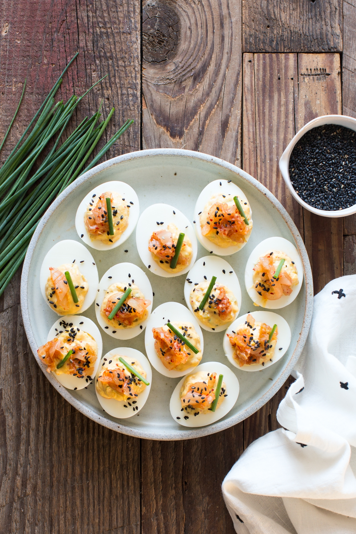 Toasted Sesame and Kimchi Deviled Eggs