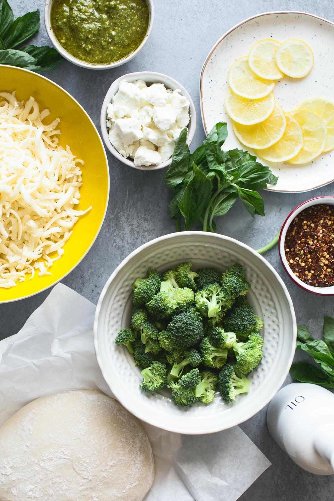 Lemon Roasted Broccoli Pizza Ingredients
