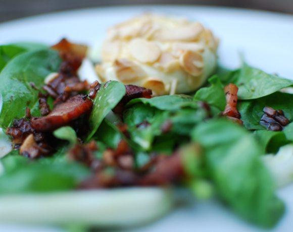 Warm Spinach Salad with Cherry Pancetta Vinaigrette