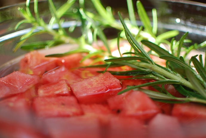 Watermelon rosemary infused vodka