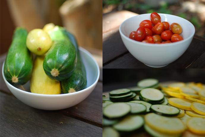 Zucchini, cherry tomatoes, sliced zucchini