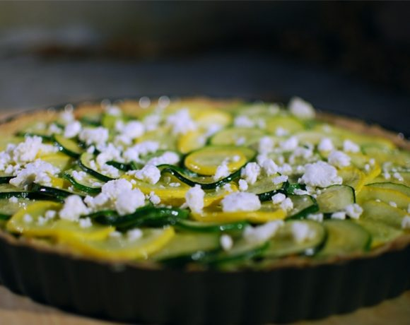 Zucchini tart with goat cheese