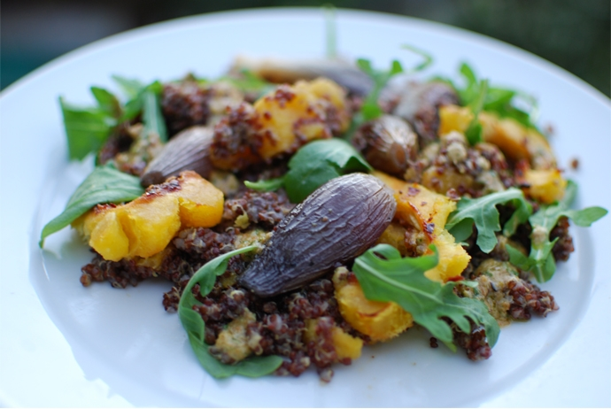 Red Quinoa and Roasted Acorn Squash Salad
