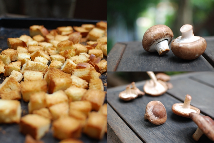 Bread Cubes and Mushrooms