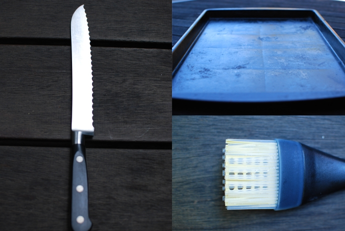 Serrated Knife, Baking Sheet and Brush