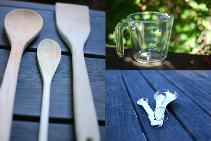 Wooden Spoons, Measuring Cup and Measuring Spoons