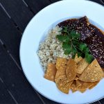 Slow Cooker Mole with Grilled Chicken, Rice and Chips