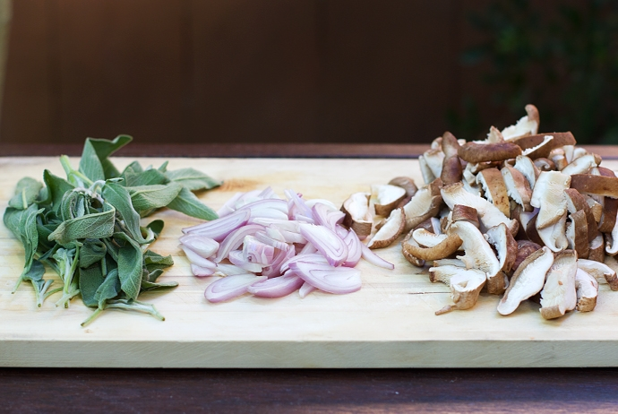 Sage, Sliced Shallots and Sliced Mushrooms