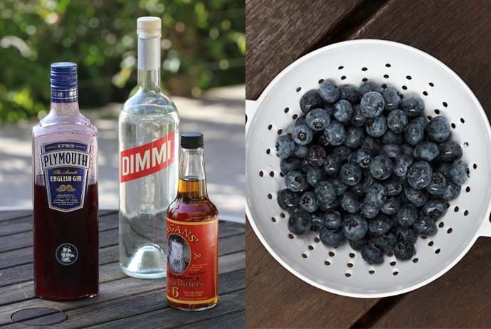 Blueberry Infused Vodka, Dimmi, Orange Bitters, Blueberries