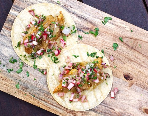Cornmeal Crusted Fish Tacos with Rhubarb Salsa