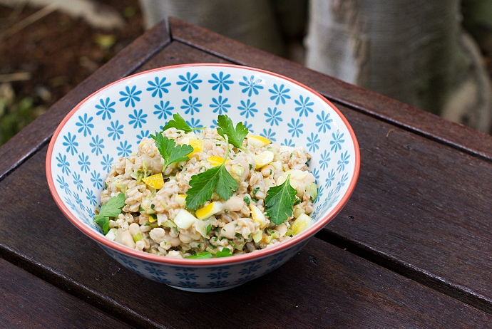 Farro, White Bean and Preserved Lemon Salad