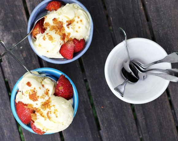 Goat Cheese Ice Cream with Fried Bread Crumbs and Balsamic Strawberries
