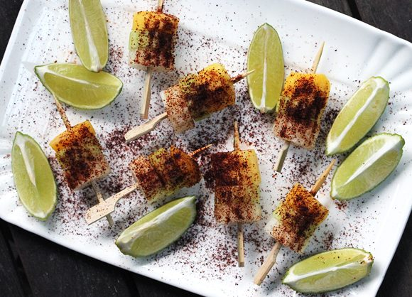 Jicama, Cucumber, Mango Skewers with Chile and Lime