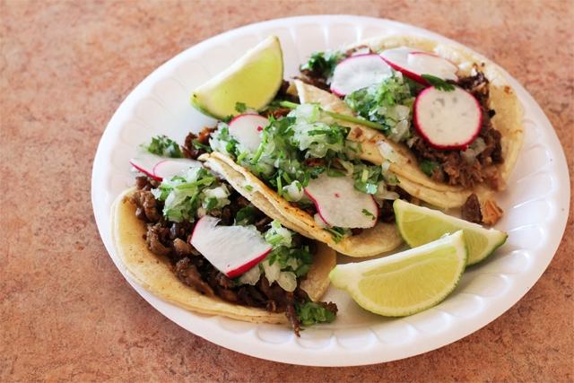 Pork, Marinated Beef and Beef Cheek Tacos