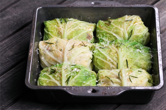 Stuffed Savoy Cabbage With Rosemary Brown Butter