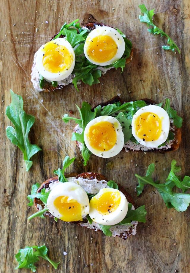 Walnut Ricotta Crostini with Arugula and Soft-Boiled Eggs
