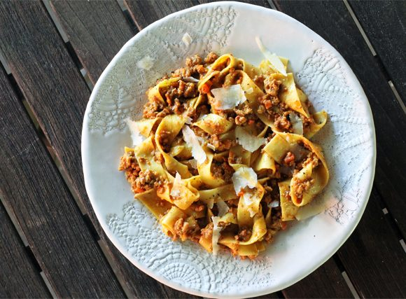 Pappardelle in Bolognese Sauce