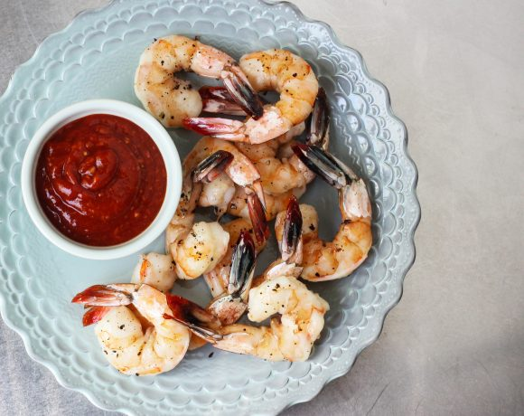 Roasted Shrimp with Spicy Cocktail Sauce