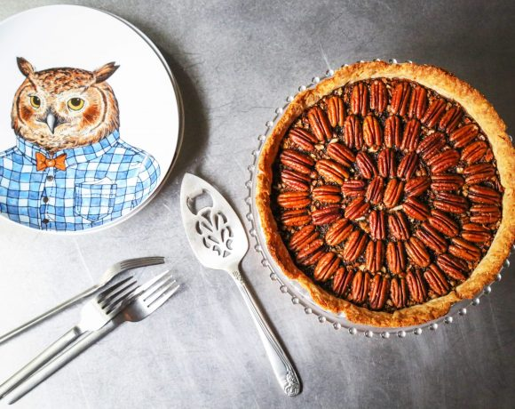 Rye Pecan Pie with Plate