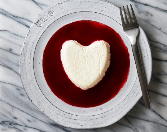 Meyer Lemon Coeur à la Crème with Raspberry Sauce