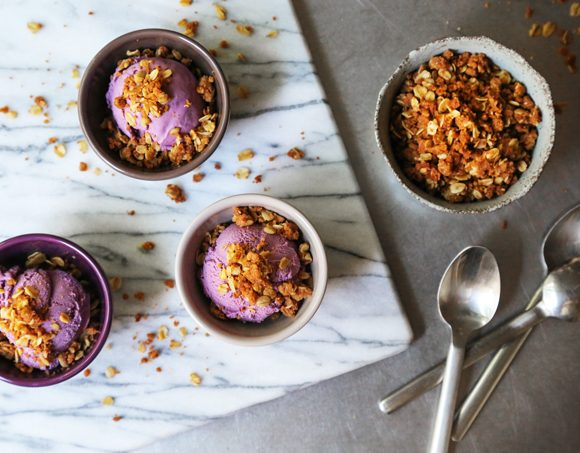 Blueberry Ice Cream with Oat Crumble Topping