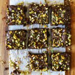Dark Chocolate and Pistachio Brownies with Salted Caramel