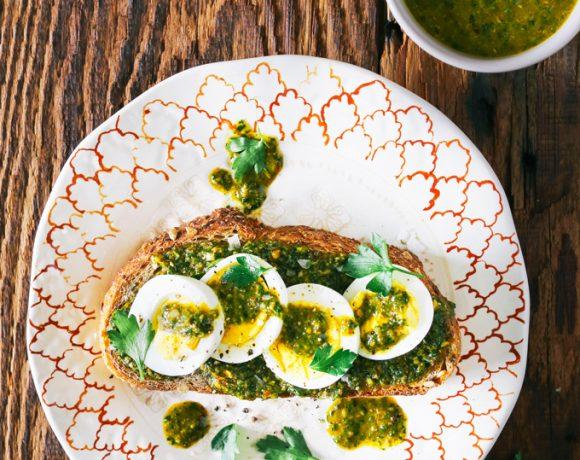 Hard-Boiled Egg Toast with Chermoula