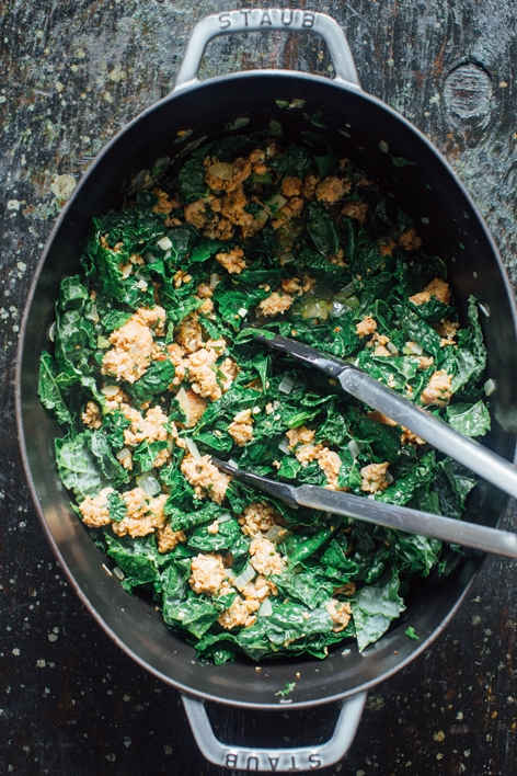Kale and Sausage Cooking