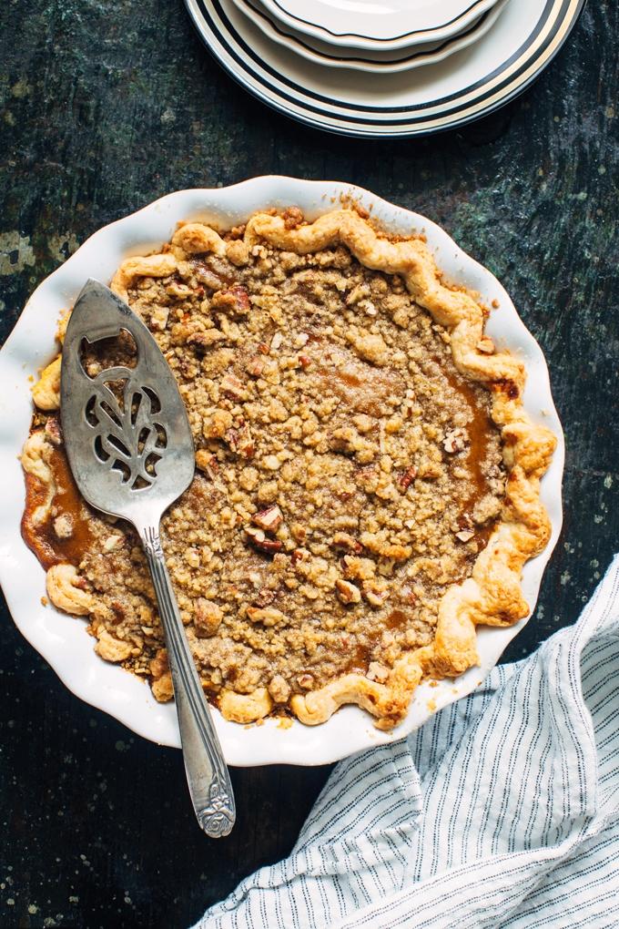 Bourbon Pumpkin Pie with Pecan Crumble - Kitchen Konfidence