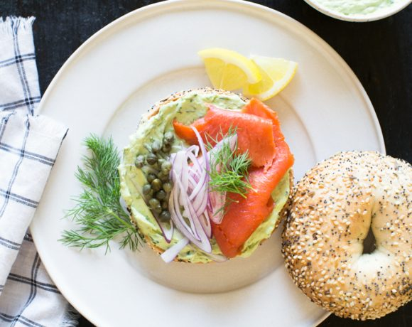 Bagels with Smoked Salmon and Herbed Avocado Spread-6