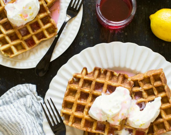 Rhubarb Waffles With Lemon Whipped Cream