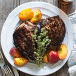 Sweet Tea Pork Chops with Grilled Peaches
